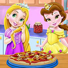 game Baby Rapunzel And Belle Cooking Pizza